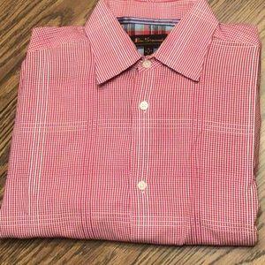 Ben Sherman LS gingham button down shirt,M,red